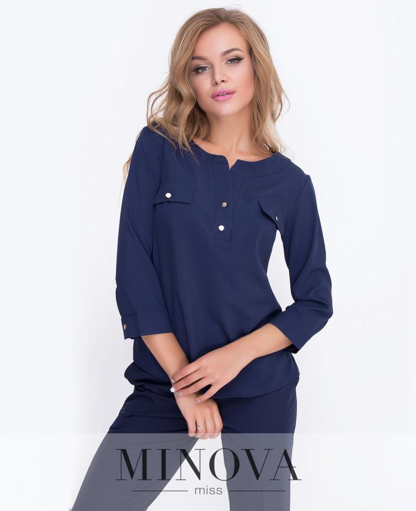 Рубашка прямого кроя с рукавами ¾ с манжетам