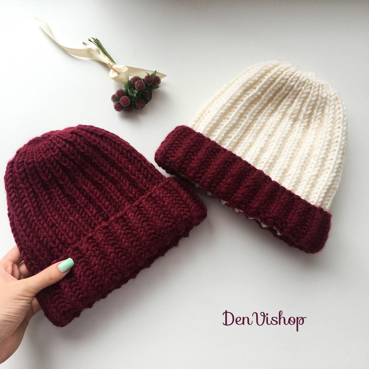 """Набор из 2-х Тёплых шапочек """"Виктория"""", разные цвета."""