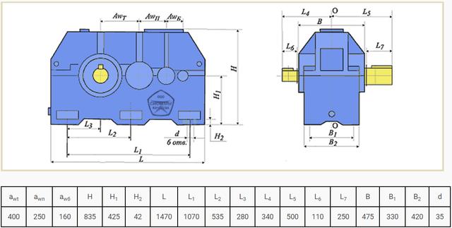 Габаритні розміри редуктора Ц3У-400 і 1Ц3У-400 креслення