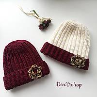 """Набор из 2-х Тёплых шапочек """"Виктория"""", с брошками, разные цвета."""