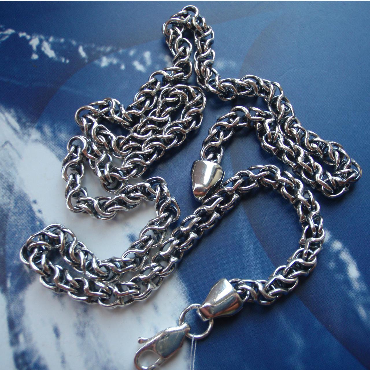 Серебряная цепочка, 600мм, 40 грамм, плетение Круглый Бисмарк
