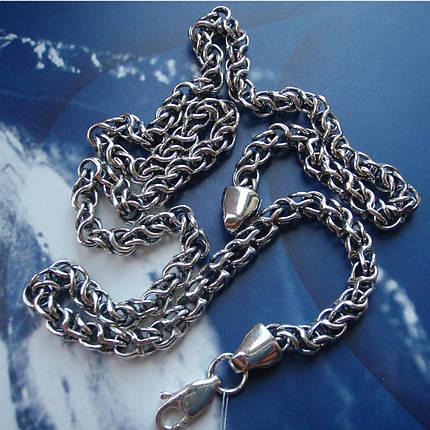 Серебряная цепочка, 600мм, 40 грамм, плетение Круглый Бисмарк, фото 2