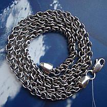 Серебряная цепочка, 600мм, 40 грамм, плетение Круглый Бисмарк, фото 3