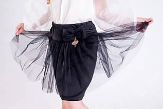 Школьная нарядная детская юбка, украшенная фатином р.128-152