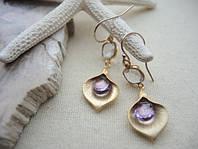 Золотые сережки с кварцом и аметистом от WickerRing