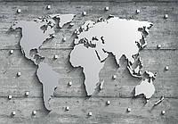 Фотообои готовые 368x254 см Карта мира, континенты из стали (10420CN)