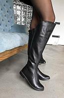 Сапоги из натуральной черной кожи №546-2  (1012 м/б + декор), фото 1