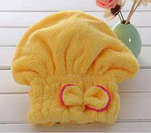 Тюрбан для сушки волос желтый - универсальный (подходит для детей и взрослых)