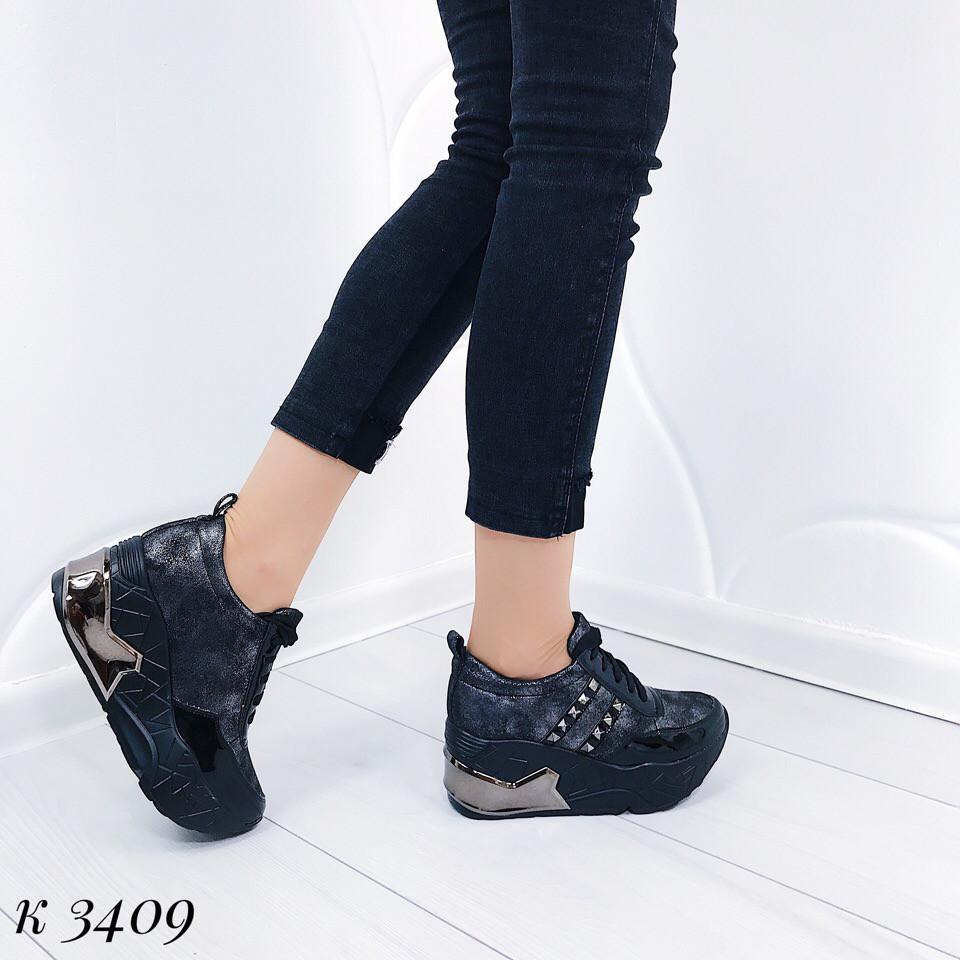 Черные кроссовки на платформе 3409 (ДБ)