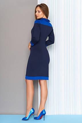 Осеннее платье средней длины облегающее рукав три четверти темно синее, фото 2