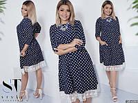 Жіноче стильне плаття великих розмірів в горошок з кружевом розмір 48-50  52-54 81529565a2bc3