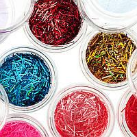 Набор для дизайна ногтей стружка(цветные),12 шт в упаковке, фото 1