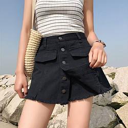 Черные юбка шорты  в наличии размеры  на  пуговичках качество!