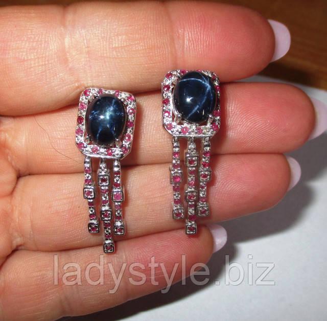 украшения серебряные серьги рубин сапфир зодиак купить украшения