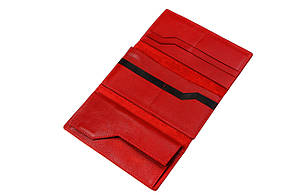 Портмоне Grande Pelle 195х100 мм глянцева шкіра червоний