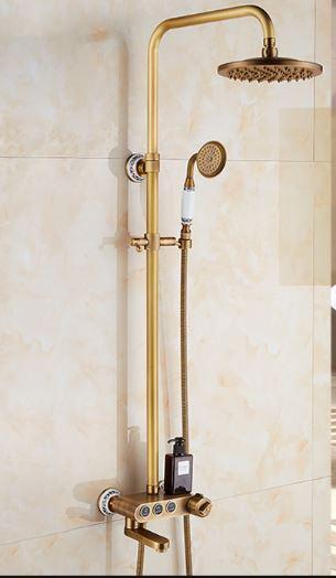 Душевая стойка для ванной со смесителем лейкой и верхним душем бронза 0611