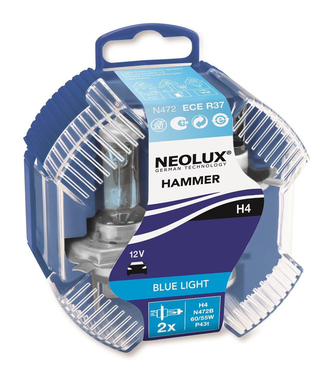 Лампа галогенова 12V H4 60 / 55W P43T BLUE LIGHT (2шт) DUOBOX