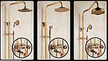 Душевая стойка для ванной со смесителем лейкой и верхним душем бронза 0611, фото 5