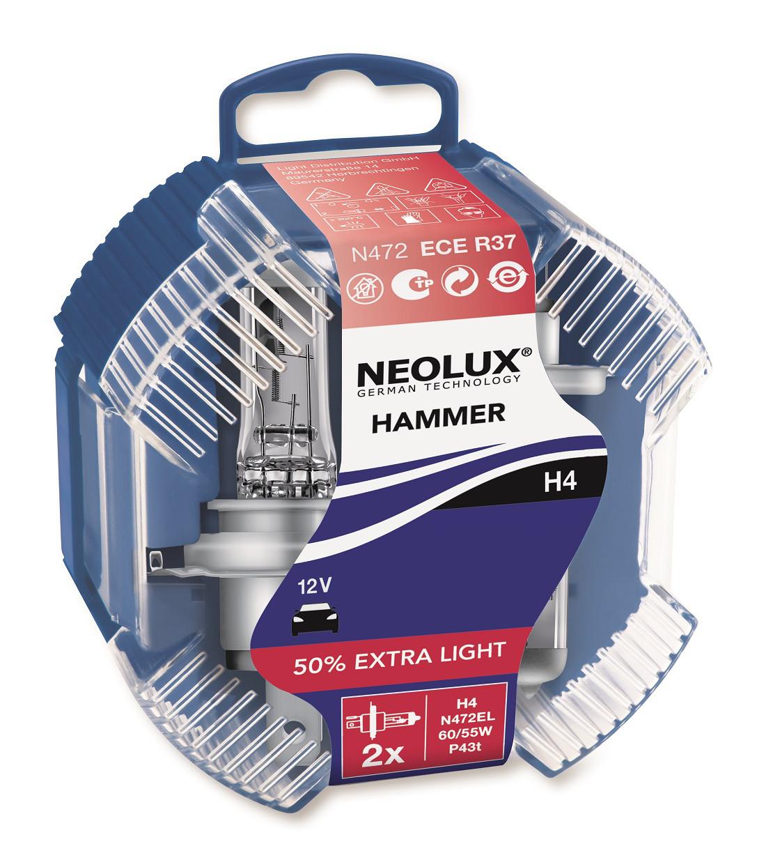 Лампа галогенова 12V H4 60 / 55W P43T EXTRA LIGHT + 50% (2шт) DUOBOX
