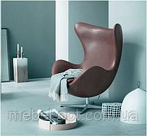 Дизайнерское кресло Эгг Egg chair коричневая экокожа, дизайн Arne Jacobsen