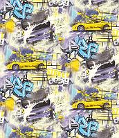 """Обои флизелиновые  """"С машинками"""" в детскую комнату, желтые с синим, 1 Х 10 – Палитра 71140-63"""