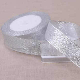Лента парчевая 2,5 см серебро (рулоны)