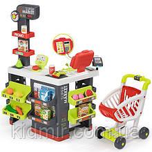 Супермаркет з візком інтерактивний сіро-зелений Supermarket Smoby 350213
