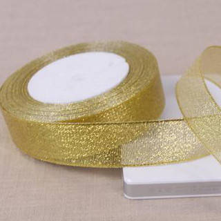 Лента парчевая 2,5 см золото (рулоны)