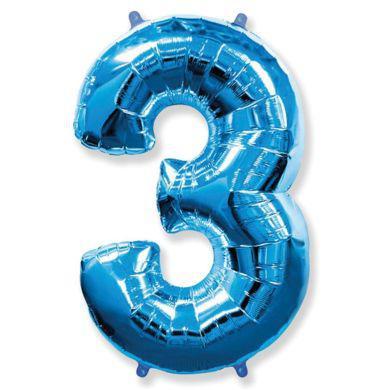 Шар цифра 3 синий с гелием, высота 1 метр