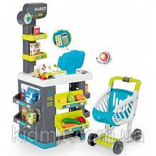 Супермаркет с тележкой интерактивный серо-бирюзовый Market Smoby 350212