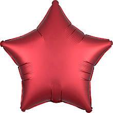 Шар звезда 46 см красная сатин с гелием