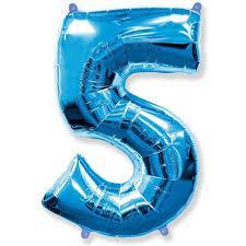 Шар цифра 5 синий с гелием, высота 1 метр