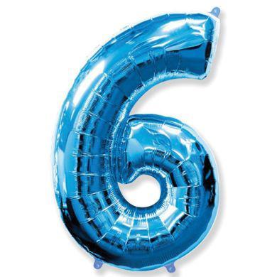 Шар цифра 6 синий с гелием, высота 1 метр