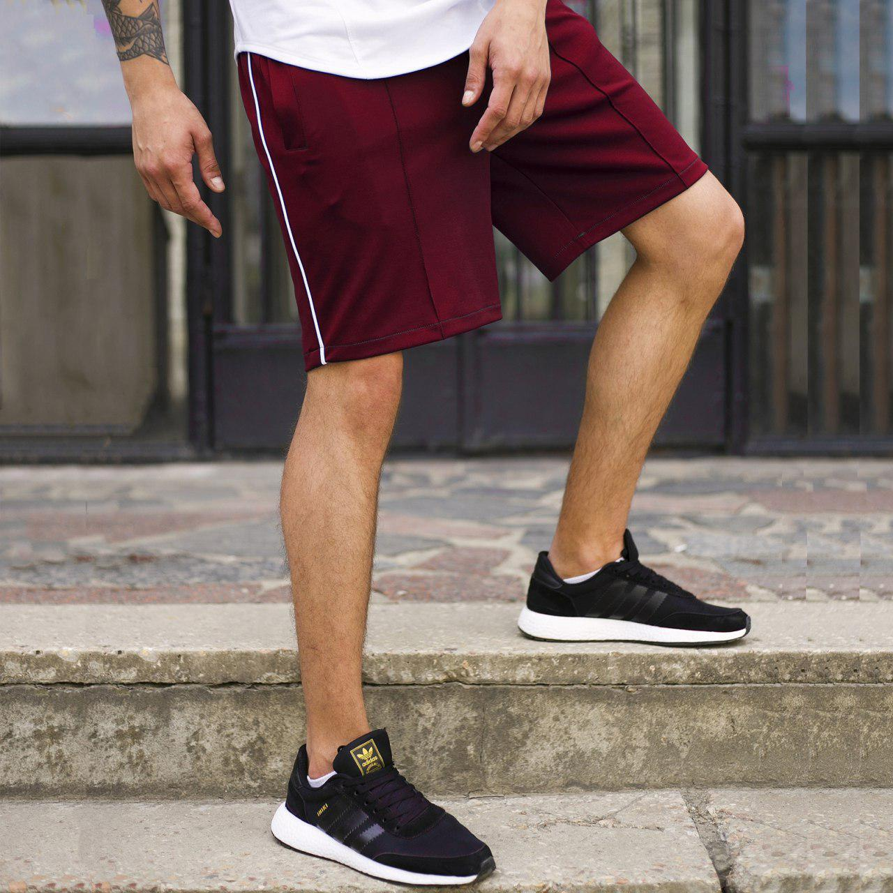 Шорты бордо мужские с полоской бренд ТУР модель СиДжей (CJ) размер XS, S, M, L, XL