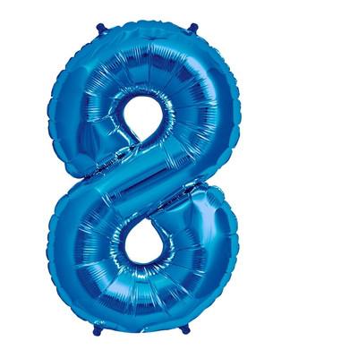 Шар цифра 8 синий с гелием, высота 1 метр