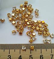 Стразы в цапах, Риволи SS16 (4,0 mm), Crystal, золото