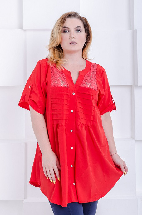 Стильная женская рубашка-туника Алиса красный (52-66)