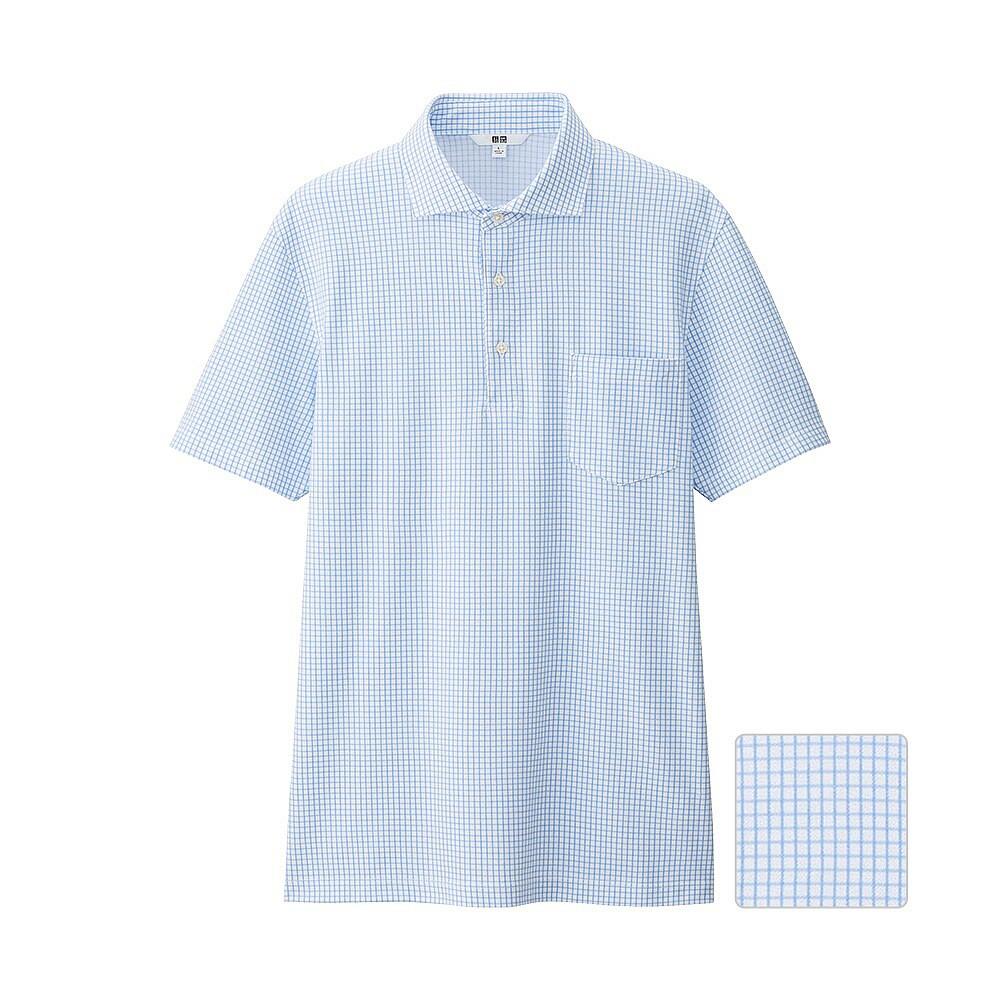 Футболка поло Uniqlo Men Dry Check Collar Polo BLUE