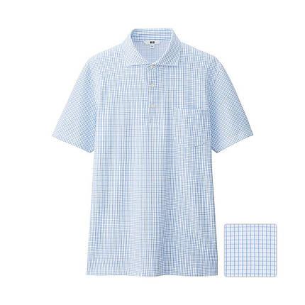 Футболка поло Uniqlo Men Dry Check Collar Polo BLUE, фото 2