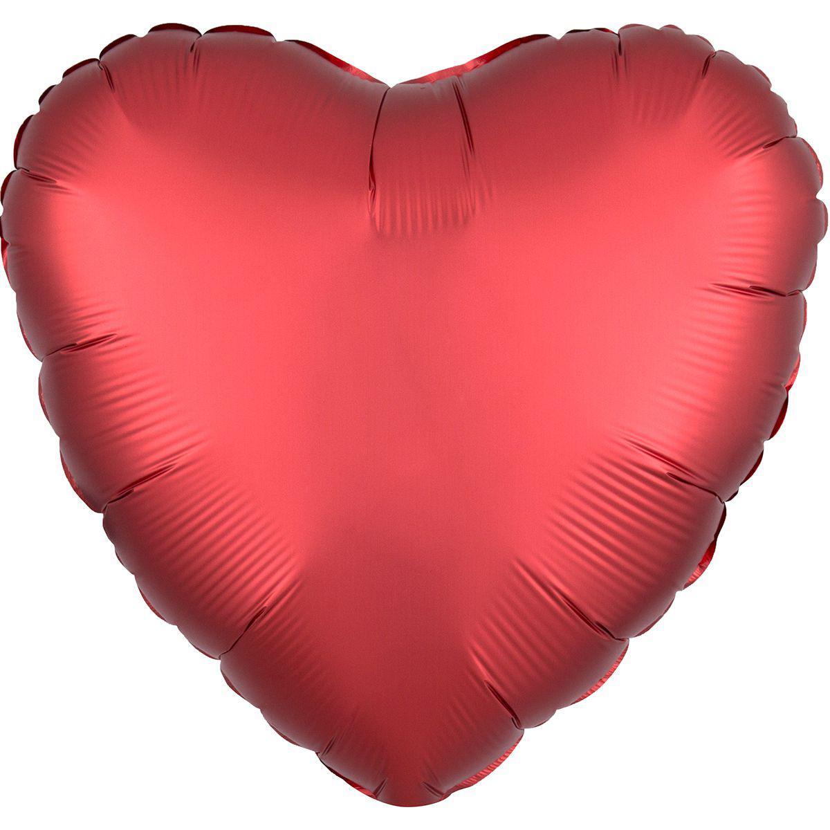 Шар сердце 46 см сатин красное с гелием