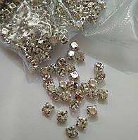 Стразы в оправе, Риволи SS16 (4,0 mm), Crystal, серебряные цапы