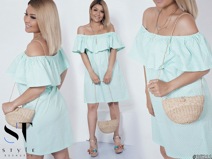 Жіноче стильне літнє плаття з воланом великих розмірів мята розмір 48-54 -  ODUVANCHYK в 6c8ad1013445c