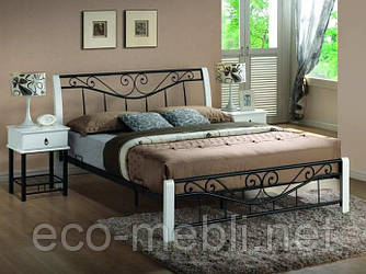 Двоспальне металеве ліжко Parma 160 biały / czarny Signal