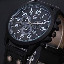 Стильные мужские часы  с датой черные