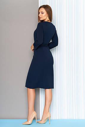 Осеннее платье средней длины полуприталенное рукав три четверти темно синее, фото 2
