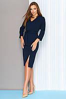 Осеннее платье средней длины полуприталенное рукав три четверти темно синее