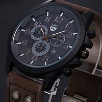 Стильные мужские часы коричневые, фото 1