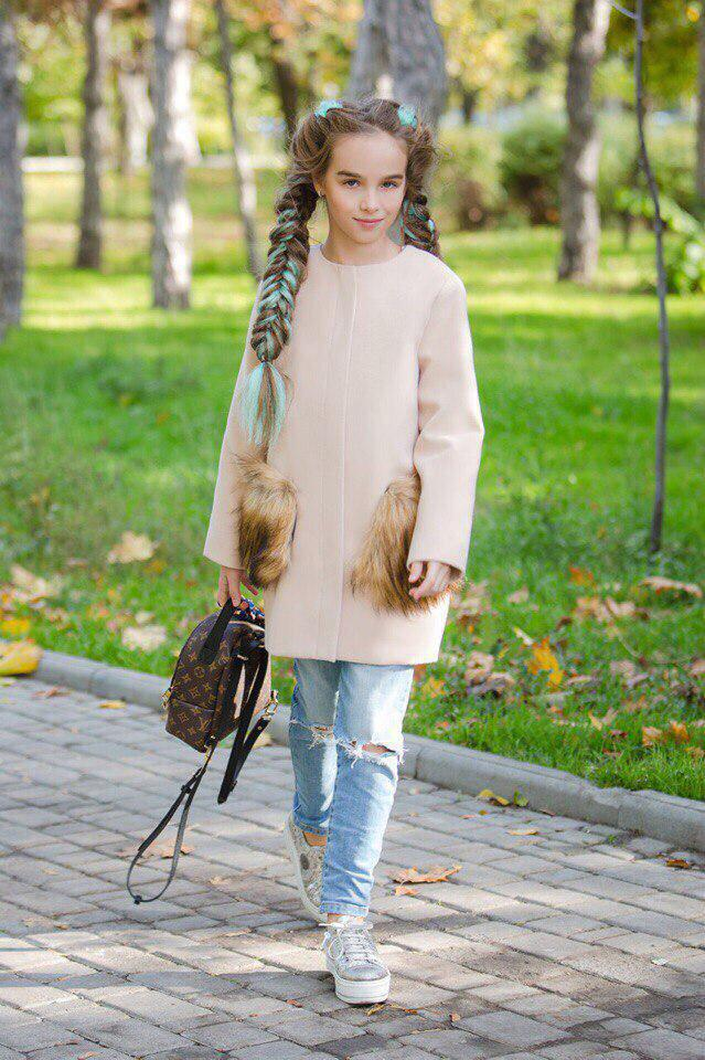 Пальто LiLove 303-2 146 бежевый