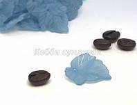 Бусины Акриловые Лист прозрачные голубые 24х22.5х3мм