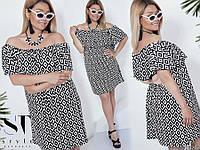 Жіноче стильне літнє плаття з воланом великих розмірів з принтом розмір 48- 54 3143bbd17d49a